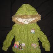 1,5-2 года, яркая тёплая курточка с аппликациями, девочке, еврозима