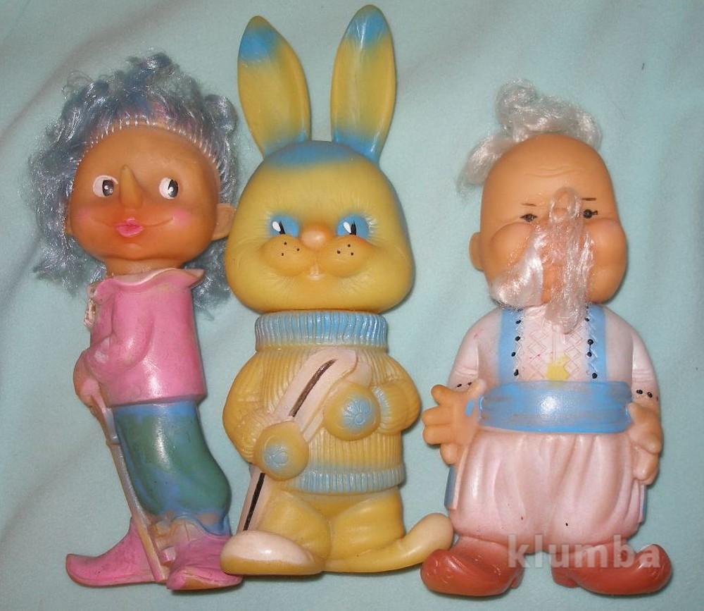 462 кукла резиновая зайчик, буратино, козак времен ссср фото №1