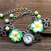 Наручные часы с цветами желтые код 83