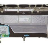 Манеж цвет коричневый, двухуровневый, 2 колеса со стопорами, пеленатор, сумка (BT016)