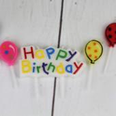 Свеча-табличка Happy Birthday и 4 свечи в форме шариков