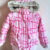 Теплая куртка для девочки ( микровельвет и меховушка) 3-4 года ( до 104 см.)