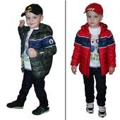 Демисезонная куртка для мальчика красная, хаки