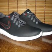 Кожаные кроссовки мужские черные с белой подошвой