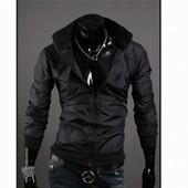 (2з) Ветровка мужская black-черная,S, М, L, XL.