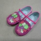 Мокасины нарядные туфли для девочки с аппликацией цветы розовые