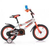 Доставка!Гарантия!Велосипед от 3 до 6 лет Azimut Fiber диаметр колес 12,Бело-оранжевый,00000097326
