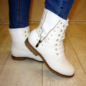 Ботинки женские белые Д457 р.37