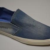 Мужские кеды слипоны джинсовые затертые рваные светлые