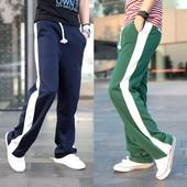 Мужские спортивные штаны с полосками. Размер:  С ,синие (2з