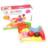 Деревянная игра для деток фрукты и овощи, делятся пополам. артикул 2012-60