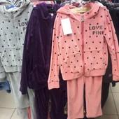 Детские велюровые костюмы Love Pink для девочек 5-10 лет