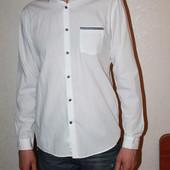 классная белая рубашка на размер л ( 15 1/2. 39 см )