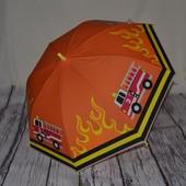 Зонтик зонт детский трость с яркими картинками Пожарная машина