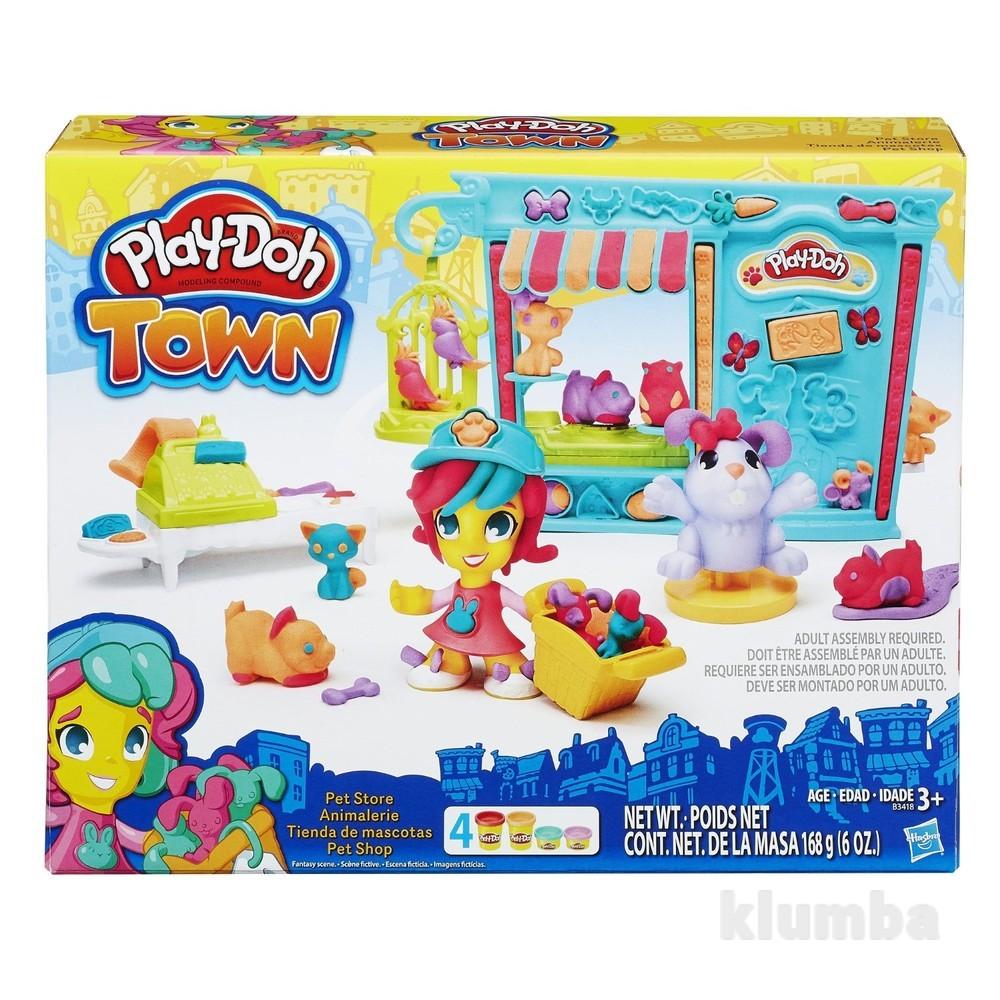 Игровой набор пластилин город зоомагазин play-doh town pet store фото №1
