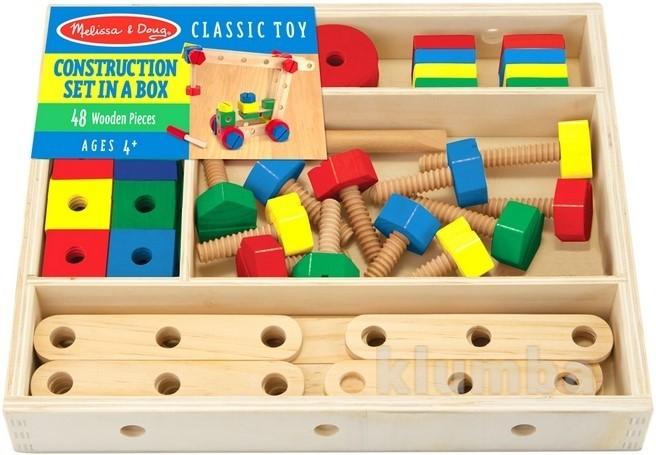 Деревянный строительный конструктор в коробке, melissa&doug артикул: md5151 фото №1