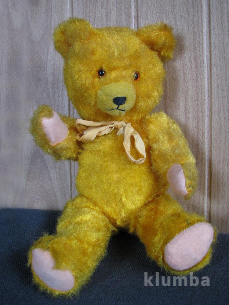 Антикварный мишка медведь опилки гдр 36см редкий фото №1
