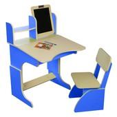 Детская Парта растущая синяя с мольбертом и стульчиком. F48