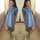 Платье в клетку ОС-871,три цвета,размер один 42-44.(1