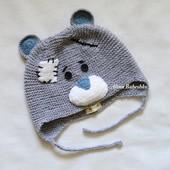 Вязаная шапочка Мишка Тедди. шапка, вязанная, ручная работа, ручной работы, зверошапка, хенд мейд