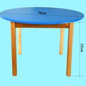 Детский Стол деревянный синий c круглой столешницой. F20