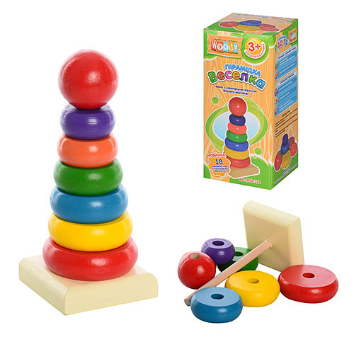 Деревянные игрушки пирамида радуга 2 вида фото №1