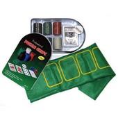 Покерный набор c номиналом на 120 фишек в жестяной коробке