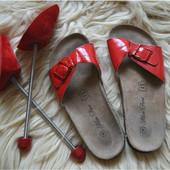 Кожаные шлепки-сандали,р-р 36-37