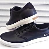 Мужские кожаные кеды Nike чёрные