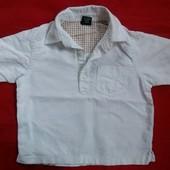 Белая рубашечка Next малышу до 92 см - хлопок+лен