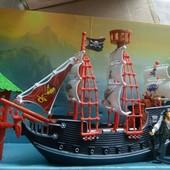 Корабль пиратов с фигурками, большой набор, лодка, пират, остров