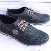 Летние мужские туфли, натуральная кожа, 3 цвета