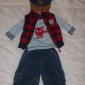 Вещички на модника (джинсы реглан безрукавка(жилетка) кепка) на 0-3 мес