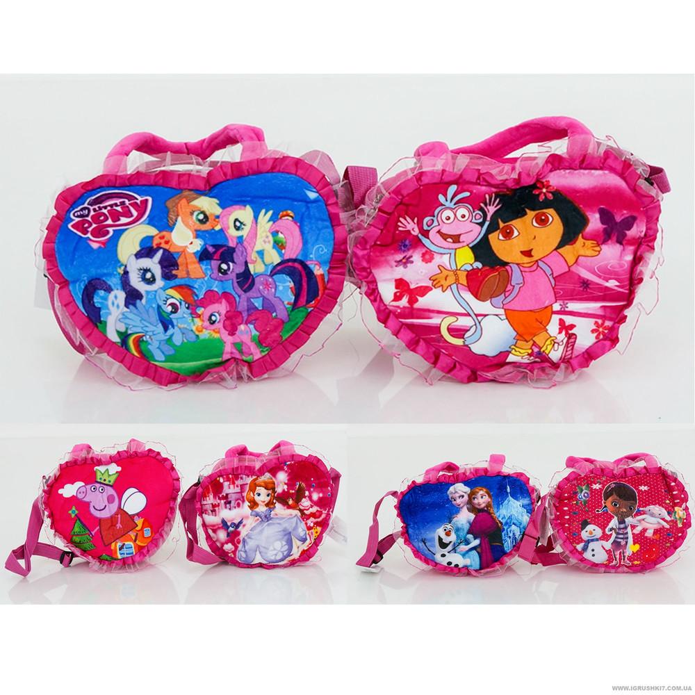Детская плюшевая сумочка мульти 25-20-4 см фото №1