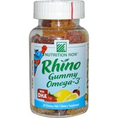 Рыбий жир Nutrition Now, rhino gummy, омега-3, с DHA, 60 желейных рыбок