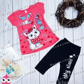 Костюм для девочки 92 98, 104 110 116 размер футболка штаны бриджи туника комплект Турция хлопок