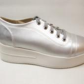 Туфли женские серебро на шнурке Т636