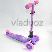 Детский самокат регулируется ручка 4kids scooter до 30кг фиолетовый от 3-х лет
