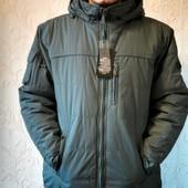 Мужская зимняя куртка Stalgert, L-4XL, р-р 50-58, цвет серый и черный
