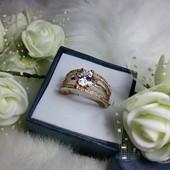 Очень крутое кольцо с напылением 18к, размер 18 новое