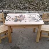 Дитячий столик з шухлядою + 2 стільчики з натурального дерева Ясен (стол стул)