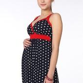 Симпатичный сарафан для беременных, темно-синий с горошком