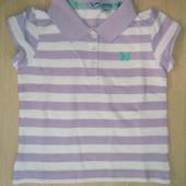 Поло в полоску белое сереневое для девочки футболка на 1-2 год