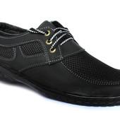 41 и 42 р Мужские легкие удобные туфли мокасины сетка П-31Ч