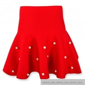Теплая юбка с бусинами,