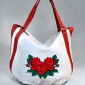 Женская сумочка, белая с красным
