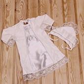 рубашка для крещения, комплект на крестины крестильная рубашка