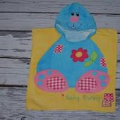 Фирменное Детское полотенце - пончо плотное махровое  С капюшоном зайчик зайка