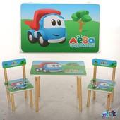 Детский столик со стульчиками 501-28 Лева грузовичок деревянный