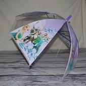 Зонтик детский полуавтомат с Эльзой Холодное сердце Frozen с прозрачными вставкам